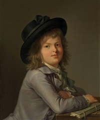 portrait of a boy, in a black hat, leaning on a portfolio by marie-victoire lemoine