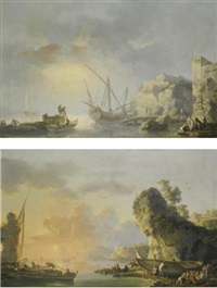 sunrise over a harbour with fishermen preparing to embark; sunset over a harbour with fishermen returning to shore and pulling in their nets (pair) by carlo bonavia