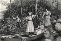 sommertag mit angelnden kindern in einem boot by tito agujari