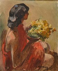 elégante au bouquet de jonquilles by andré mériel-bussy