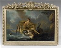 arion jouant de la lyre, porté par un dauphin by noël nicolas coypel