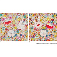 1. kaikai kiki and me - the shocking truth revealed! / 2 .kaikai kiki and me - for better or worse, in good times and bad, the weather is fine (2 works) by takashi murakami