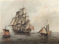 man o war and other vessels in calm eveining waters by samuel atkins