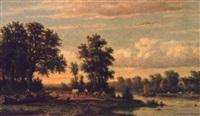 a tranquil river landscape by johannes jacobus (jan) heppener
