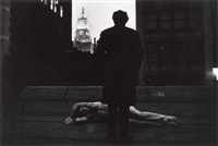 a man dreaming in the city by duane michals