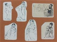 un montage comprenant six vignettes sur le japon (+ album w/57 drawings and 3 lithographs, smllr; 61 works) by felix regamey