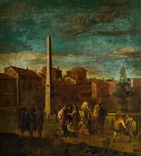 plaza con obelisco y figuras by johannes lingelbach