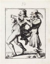 two figures wrestling (from klare onderrichtinge der voortreffelijcke worstel-konst) by romeyn de hooghe
