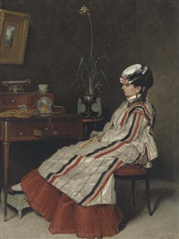 a woman in a striped jacket at a writing desk by henri rené gaume
