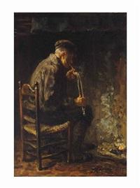elderly man smoking a pipe by jozef israëls