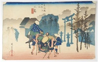 série de la grande tokaido, station 12, mishima by ando hiroshige