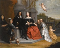 a portrait of a family within a formal garden setting, the husband and wife seated beneath two fluted pillars by jan victors