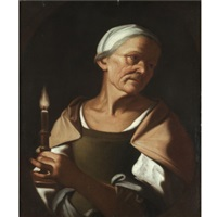 an old lady holding a candle by trophîme (theophisme) bigot the elder