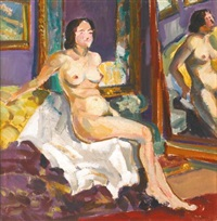 seated nude by a mirror by serguei ivanovitch lobanoff