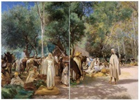 le grand marché sous les ombrages by louis joseph anthonissen