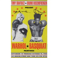 exhibition poster from the exhibition at tony shafrazi gallery by jean-michel basquiat and andy warhol