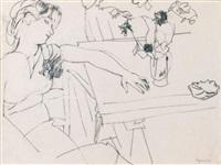 jeune femme un bras sur la table by raymond legeult