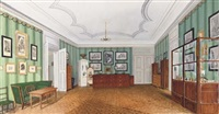 a german interior decorated with prints and furnished with cabinets and a small office by a. zegnard