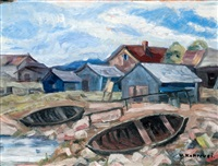 boats on the shore by väinö kamppuri