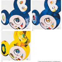 1. and then × 6(marine blue:the superflat method) / 2. and then × 6(blue superflat method) / 3. and then, and then and then and then and then, yellow universe (3 works) by takashi murakami
