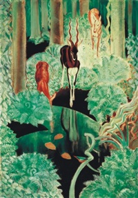 interior of a forest with deers - black spring by aladar fay