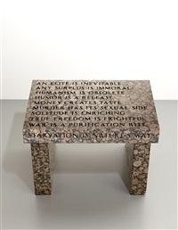 truism footstool by jenny holzer