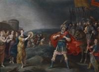 der siegreiche feldherr jephta begegnet seiner tochter by hieronymus francken iii
