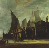 sailing boats at a jetty at low tide by hendrick van anthonissen