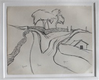 landscape: house and trees by keith vaughan