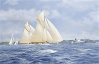 lulworth and candida racing on the clyde by john j. holmes