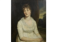 portrait of lady dickson, half-length, in a white dress seated before a landscape by john opie