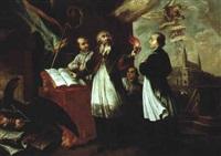 der heilige augustus, im hintergrund die basilica san giovanni in laterano by johan baader