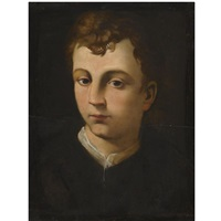 portrait of a boy, head and shoulders, wearing a black coat with a white collar by agnolo bronzino