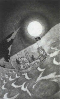 fantastic ship below a full moon by sidney h. sime