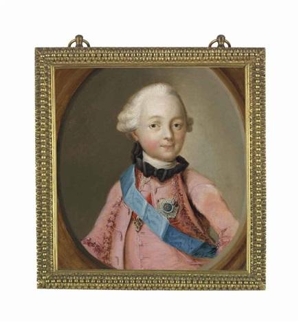portrait of grand duke paul petrovich later emperor paul i of russia 1754 1801 half length en deuil in a pink coat wearing the blue sash by virgilius erichsen