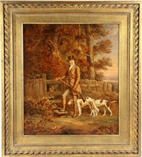 young hunter with his dogs pausing at a country gate by thomas cusden