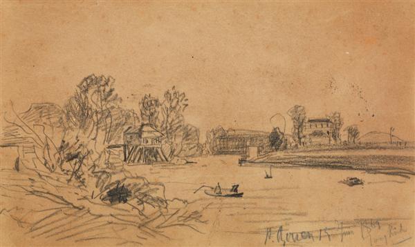 bateaux sur une rivière by johan barthold jongkind