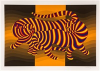 tigers; artistic study of movement (2 works) by victor vasarely