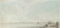 view from chowringee, across the park to esplanade row, calcutta by hubert cornish