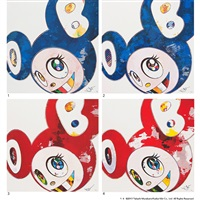 1. and then × 727(ultramarine : gunjo) / 2. and then × 6(lapis lazuli : the superflat method) / 3. and then × 6(red : the superflat method) / 4. and then × 6(red : the polke method (4 works) by takashi murakami