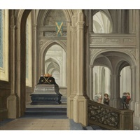 a church interior with a royal tomb, probably that of the german emperor rudolf ii by dirck van delen