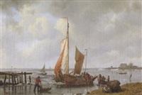 le déchargement du scheldeboot sur la glace by h. koekkoek