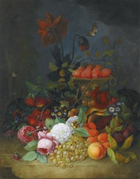 still life of roses and other flowers, with plums in a tall basket, grapes, apricots and gooseberries all upon a white marble ledge, two butterflies fluttering by jan frans van dael