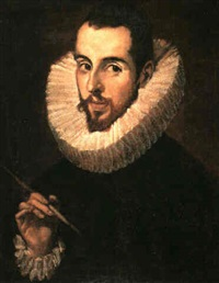 a portrait of <b>jorge manuel</b> theotokopoules (1578-1631) long bust length, ... - el-greco-a-portrait-of-jorge-manuel-theotokopoules-(1578-1631)-long--bust-length,-holding-a-paint-brush-in