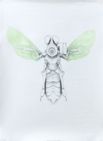 green bee with protection mask by ludo