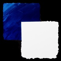 blue and white triptych by mary heilmann