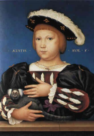 edward, prince of wales, with monkey by hans holbein the elder