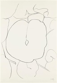 melon leaf (feuille de melon), from suite of plant lithographs by ellsworth kelly