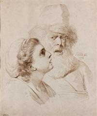 tête d'homme de face, tête de femme de profil by pierre alexandre wille