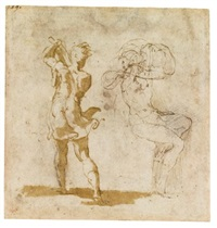 recto : studies of an executioner and a seated figure; verso : a fragment of figure studies (after raphael) by parmigianino